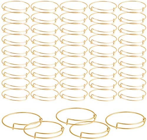 SAYAYA 50 Pieces Expandable Bangle Blank Bangle Bracelets Adjustable Bracelets for Jewelry Making (Gold)