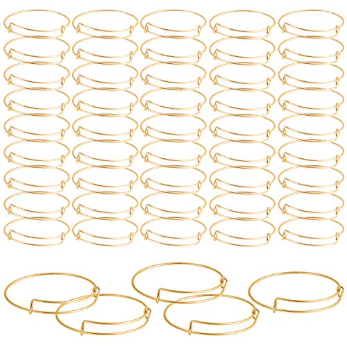 Gold Charm Bracelets (SAYAYA 50 Pieces Expandable Bangle Blank Bangle Bracelets Adjustable Bracelets for Jewelry Making)