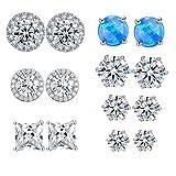 OPALBEST 7 Pairs Stud Earrings Set Cubic Zirconia Opal Sensitive Ear Jewelry Hypoallergenic for Women Men 4-6mm