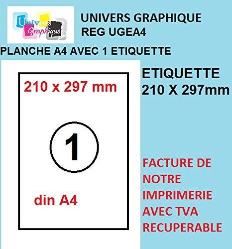 Univers Graphique UGEA4 - 100etichette adesive, formato A4, 210 x 297 mm, colore: Bianco