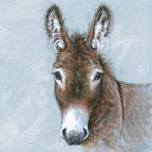 4 x Paper Napkins - Young Donkey - Ideal for Decoupage / Napkin Art Ambiente