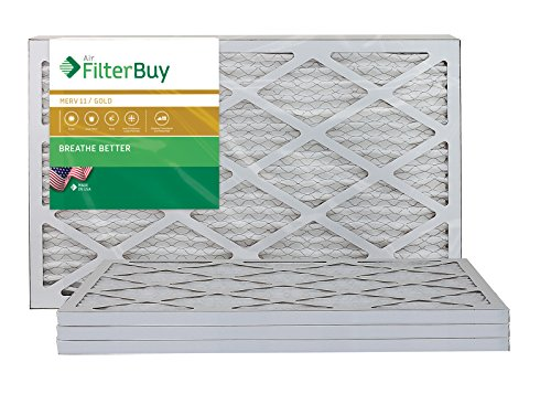 AFB Gold MERV 11 12x20x1 Pleated AC Furnace Air Filter. Pack of 4 Filters. 100% produced in the USA.