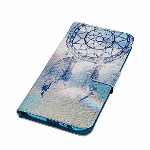 Funda Samsung Galaxy A5 2017, 5.2 pulgadas, Cáscara Samsung Galaxy A5 2017, Alfort Casco de Protección PU Carcasa del teléfono con una función de Soporte y la Cartera La alta calidad de la caja del Cu Campánula