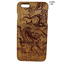 "Szwisechip 4.7 inch natural real bamboo wood wooden, TPU hard case cover for iphone 6, 6S (4.7"")(TPU Cherry with dragon in cloud)"