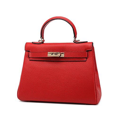GUANGMING77 _Tasche Tasche Geprägtes Crossbody Handtasche 28CM big red