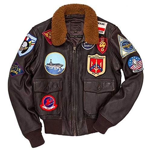Tom Cruise Top Gun Maverick Fur Collar Shearling Aviator Pilot Bomber Brown Real Leather Jacket (S)