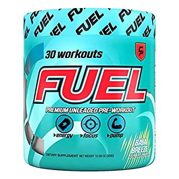 Fuel Pre Workout Powder Baja Breeze with Creatine to Increase Strength, Improve Workouts, Best Tasting Baja Blast Flavored