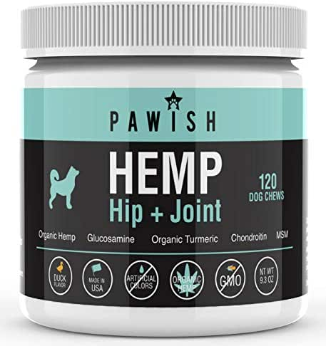 Hemp Hip & Joint Supplement for Dogs - 100% Organic Hemp Oil & Hemp Protein + Glucosamine, Chondroitin, Turmeric, MSM - for Joint Support, Mobility, Arthritis Pain Relief and Anxiety - 120 Soft Chews