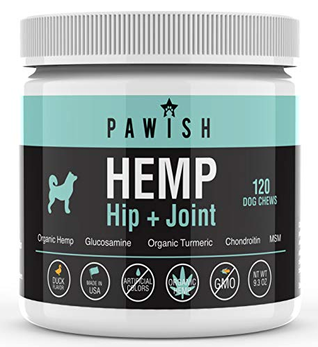 Hemp Hip & Joint Supplement for Dogs - 100% Organic Hemp Oil & Hemp Protein + Glucosamine, Chondroitin, Turmeric, MSM - for Join