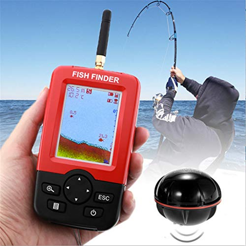 ℂarpeter Tool Wireless Fish Finder Fish sensor Wireless Fish Finder Portable Sonar Fishfinder Depth Locator Tracker with LCD Screen for Freshwater Saltwater Boat Ice Fishing Sea Fishing