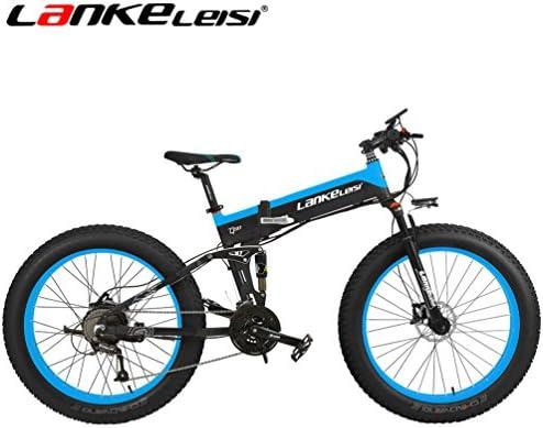 LANKELEISI 26 Fat Wheel Bicicleta Eléctrica Plegable 48V 1000W Shimano 27 Velocidad Suspensión Completa Snow Mountain MTB E-Bike, Freno de Disco ...