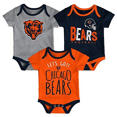 Outerstuff NFL NFL Chicago Bears Newborn & Infant Little Tailgater Short Sleeve Bodysuit Set Deep Obsidian, 24 - Bears Clothes Baby Chicago