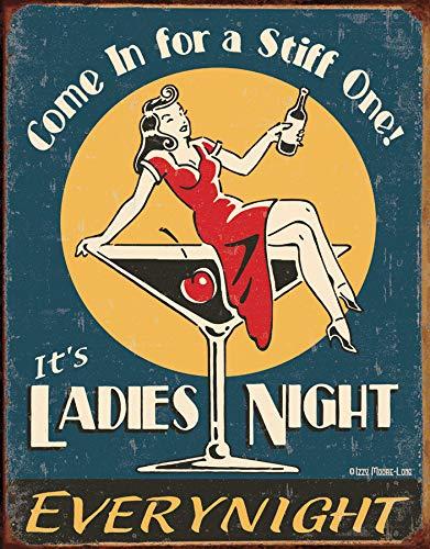 """Desperate Enterprises Moore - Ladies Night Tin Sign, 12.5"""" W x 16"""" H"""