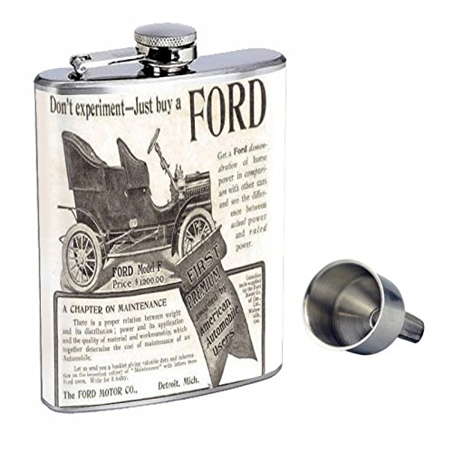 ford-motor-company-very-old-ad-perfection-in-style-8oz-stainless-steel-whiskey-flask-with-free-funne
