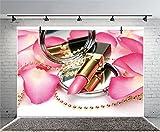 Leyiyi 9x6ft Photography Backdrop Fashion Make Up Blog Broadcaster Background Petal Lipstick Mirror Handbag Necklace Girls Room Interior Decor Birthday Banquet Photo Portrait Vinyl Video Studio Prop