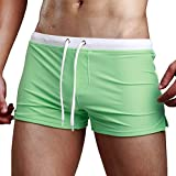 cheap hotels 80 off - Aucou Men's Swim Trunks Briefs Board Shorts Swimwear with Zipper Pocket( Green US S )