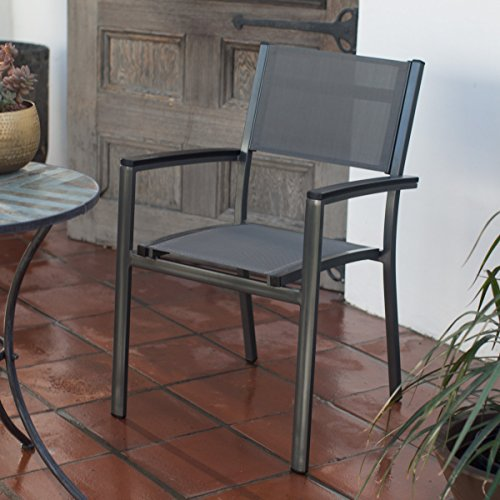 g Outdoor Patio Dining Chair With Polywood Arms And Powder-Coated Aluminum Frame ()