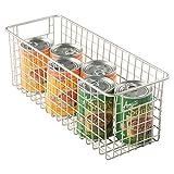 mDesign Wire Storage Basket for Kitchen, Pantry, Cabinets - Medium, Deep, Satin