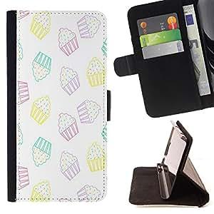 King Art - Premium-PU-Leder-Prima caja de la PU billetera de cuero con ranuras para tarjetas, efectivo Compartimiento desmontable y correa para la mu?eca FOR HTC Desire 820 D820 d820t- Ice Cream Summer