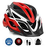 MOKFIRE Adult Bike Helmet CPSC Certified with Rechargeable USB Light, Bicycle Helmet for Men Women Road Cycling & Mountain Biking with Detachable Visor/Replacement Lining, 22.44-24.41 Inches (Red)