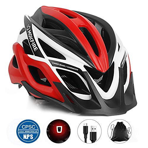 MOKFIRE Adult Bike Helmet CPSC Certified Bicycle Cycling Helmet with USB Light/Removable Visor/Replacement Pad Adjustable Mountain Road Biking Helmets for Adults Men Women 22.44-24.41 Inches (Red)