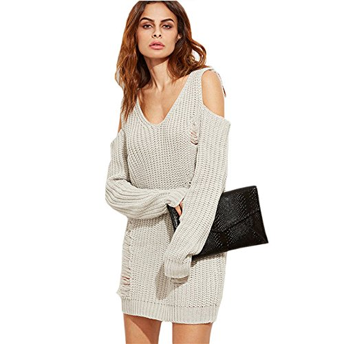 TOOTO Women's Cold Shoulder Turtleneck Sweater Dress Ripped Hole Long Sleeve Sweater Dresses