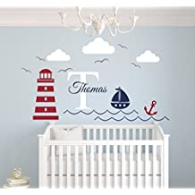 Nautical Theme Name Wall Decal - Nautical Decor - Nursery Wall Decal - Whale and Sailboat - Vinyl Baby Nursery Decor (50Wx30H) by Lovely Decals World