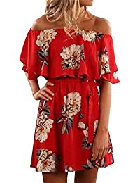 GAMISOTE Women's Floral Print Red Dress Sexy Off Shoulder...