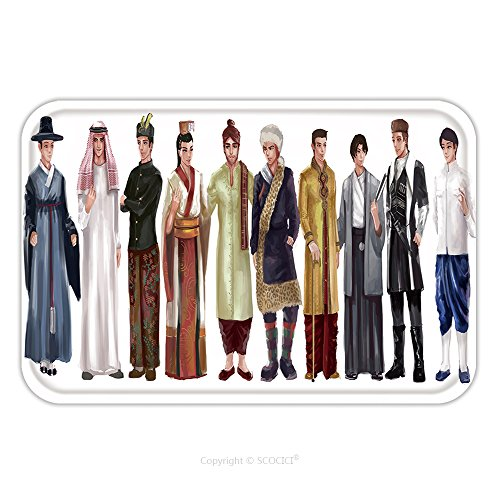 Asian National Costume For Boys (Flannel Microfiber Non-slip Rubber Backing Soft Absorbent Doormat Mat Rug Carpet Cartoon Illustration Of Asian Male Man Traditional Religion And National Costume Dress Clothing 357508559 for Indoor/Ou)