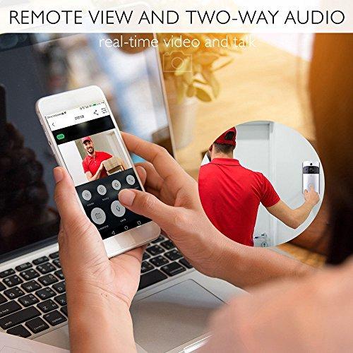 - Ciyoon 2019 Silver WiFi Video Doorbell Smart Doorbell 720P HD WiFi Security Camera Night Vision