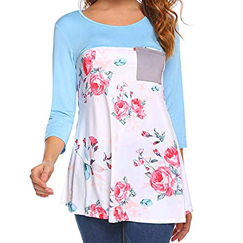 ZEFOTIM Women Casual Floral Printing Patchwork Tunic Shirt Long Sleeve Top Blouse (US-12/CN-L,Blue) -