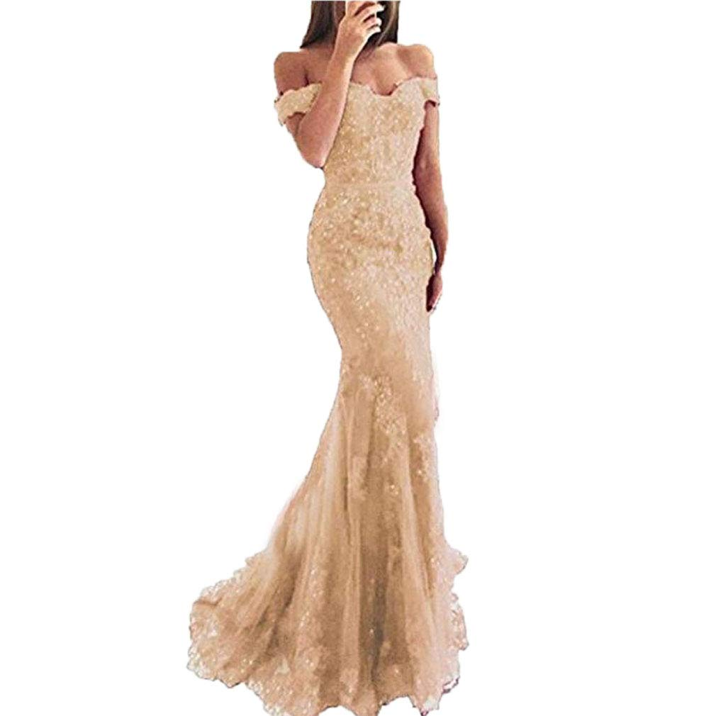 Champagne Fashionbride Women's Long Prom Dress Beaded Lace Off The Shoulder Mermaid Formal Dresses ED110