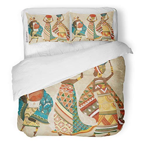 Semtomn Decor Duvet Cover Set King Size Colorful Pattern Dreams of Africa Ethnic African Pottery Kanga 3 Piece Brushed Microfiber Fabric Print Bedding Set Cover -