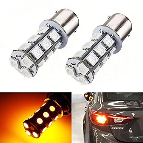 iJDMTOY (2) Amber Yellow 18-SMD-5050 7507 PY21W LED Bulbs for For Front or Rear Turn Signal Lights, Daytime Running Lights