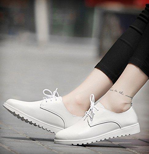 de mujer para cordones bajo Aisun con de de corte blancas Zapatillas deporte vwAEqpZF
