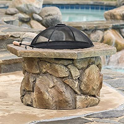 Encino Outdoor Natural Stone Finish Fire Pit - Includes: One (1) fire pit Material: Glass fiber, reinforced cement, powder coated iron Color: Natural stone - patio, outdoor-decor, fire-pits-outdoor-fireplaces - 51tFioTt0LL. SS400  -