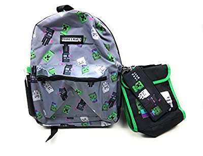 Minecraft 4 Piece Backpack Lunch Bag Pencil Case Water Bottle