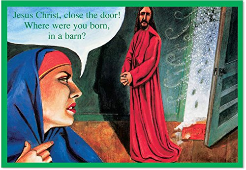 12 'Born in a Barn' Christmas Cards with Envelopes (4.75 x 6.625 Inch), Funny Jesus and Virgin Mary Christmas Cards, Religious Christian Happy Holidays Cards, Jesus Christ, Nativity Cards B1382 (Religious Jerseys)