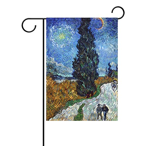Vipsk Van Gogh Cypress Road Long Polyester Garden Flag Banner 12 x 18 inch for Wedding Anniversary Home Outdoor Garden - Garden Country Road City