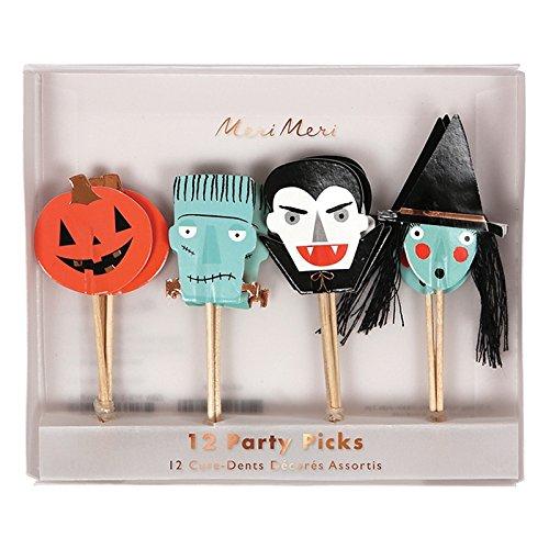 Meri Meri Halloween Character Party Picks 45-2948, Set of 12 in 4 Styles ()