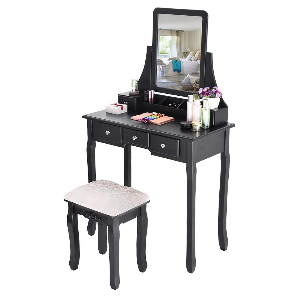Basde Vanity Set Beauty Station Makeup Table and Wooden Stool Set, Makeup Dressing Table 5 Drawers Storage, Wood Vanity Set w/Stool Bedroom Furniture for Girls (Ship from USA) (Black)