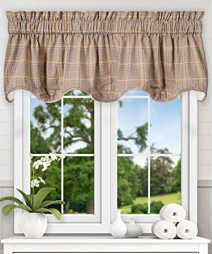 Ellis Curtain Morrison Multi Colored Plaid 100-Percent Cotton (Scallop Lined Valance, 70 x 17