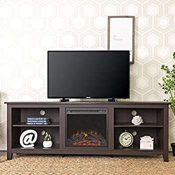 """WE Furniture 70"""" Wood Fireplace TV Stand Console, Espresso"""