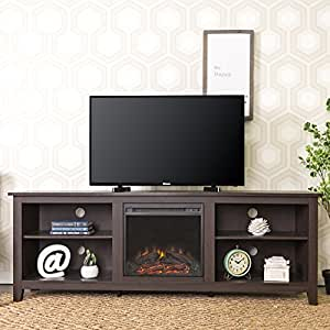 new 70 inch wide fireplace television stand in espresso brown finish kitchen dining. Black Bedroom Furniture Sets. Home Design Ideas