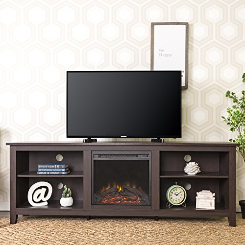 "WE Furniture 70"" Espresso Wood Fireplace Modern TV Stand Console for Flat Screen TV"