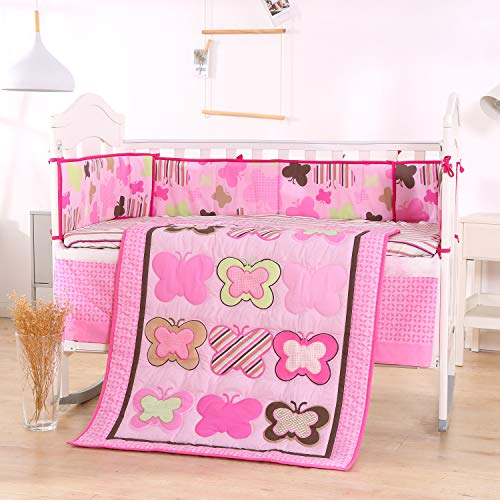 Wowelife Butterfly Crib Sets Pink Girl Crib Bedding Nursery Bedding Cotton 7 Piece with Bumpers(Pink Butterfly)