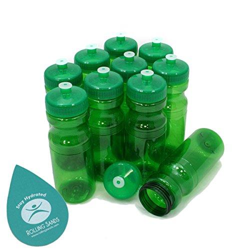 Rolling Sands BPA Free 24oz Drink Bottles Green (10 Pk, Made in USA)