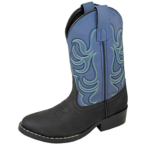 Smoky Mountain Boys Black/Blue Monterey Western Cowboy Boots,Black/Blue,4.5 M US Big Kid