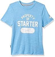 Starter Girls' Short Sleeve Distressed Property Logo T-Shirt, Amazon Exclusive, Team Light Blue, S (6/6X)