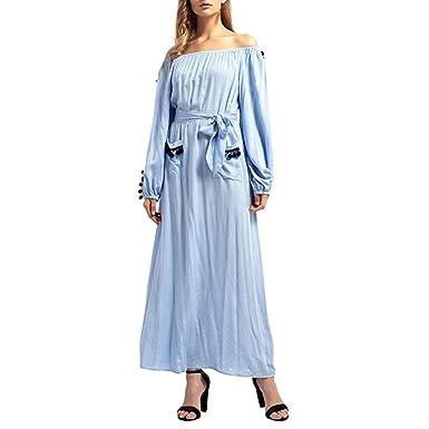 OHQ Mme éPaule LâChe Grande Taille Robe à Manches Longues Moyen-Orientale  Bleu Ciel Robes c1c7a28dd7bb